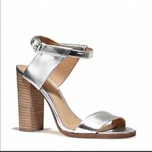 Coach Lexey Silver Block Heel Sandals